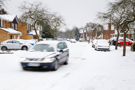 blizzard: Winter driving in snow in the UK