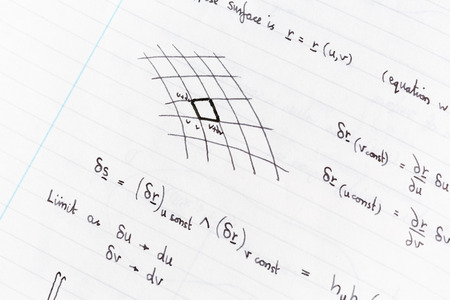 formulae: Surface integration equations and diagram handwritten on lined paper Stock Photo
