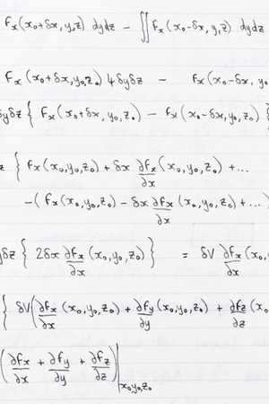 divergence: Study notes written on lined paper with scientific formulae for divergence of vector fields