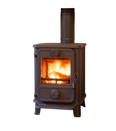Wood burner stove isolated against a white background
