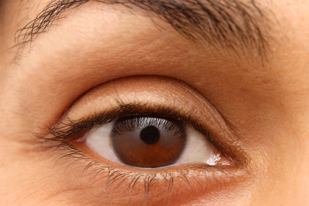 eyelids: Closeup of an Indian girls eye and brow Stock Photo
