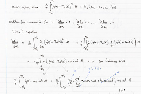 Page of hand written formulae with Fourier analysis functions Stock Photo