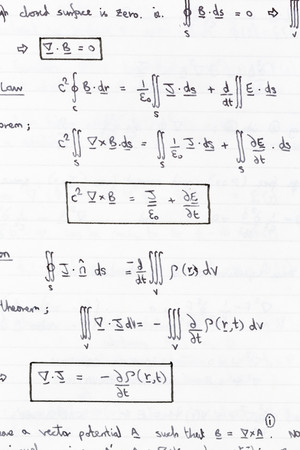 equations: Study notes with equations of heat conduction, thermodynamics Stock Photo