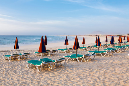 sunbeds: Row of sunbeds and parasols on a beach Stock Photo