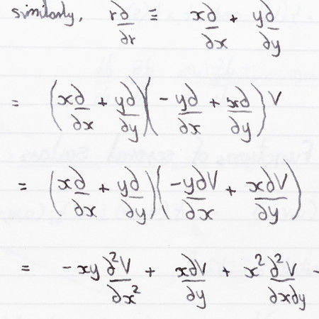 equations: Closeup of handwritten mathematics (partial differentiation) equations