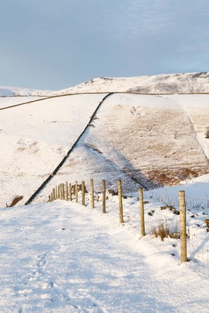 snowscene: Snow covered fields in winter, Derbyshire countryside, UK Stock Photo