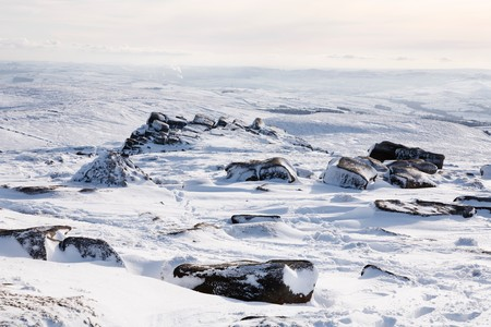 snowscene: Snow covered mountains in winter in English countryside, Peak District, Derbyshire, UK