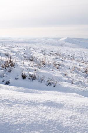 snowscene: Winter scene of countryside covered in snow. Derbyshire, Peak District, UK