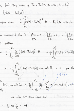 Mathematical equations and formulae in a notebook