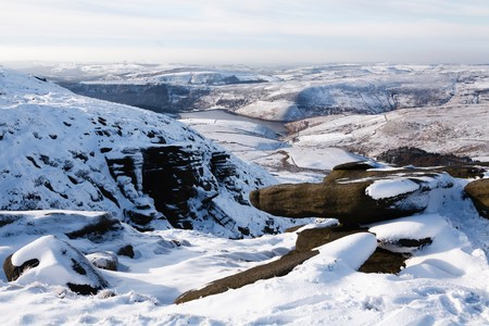 Kinder Reservoir viewed from Kinder Scout, Peak District, UK Stock Photo
