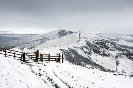 snowscene: Hollins Cross, Back Tor and Lose Hill in winter. Viewed from Mam Tor, Peak District, UK