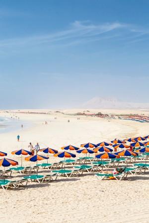FUERTEVENTURA, SPANIEN - CIRCA 2013: Reihe von Sonnenliegen und Sonnenschirmen am Sandstrand Bajo Negro, Fuerteventura, Kanarische Inseln