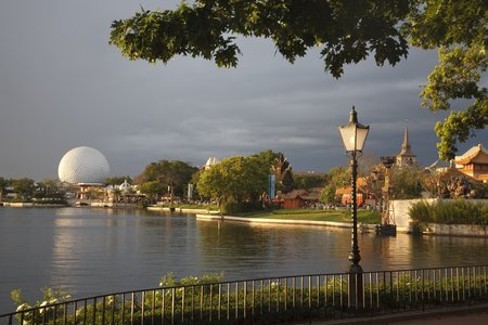 Orlando, USA - March 22, 2009. The sun sets on the World Showcase Lagoon at Epcot Center Theme Park, Walt Disney World Resort.