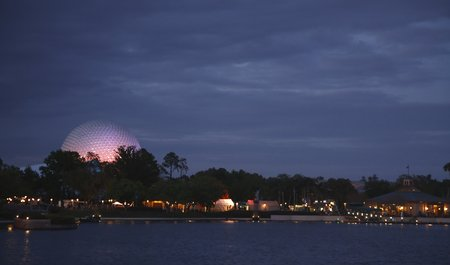 Orlando, USA - March 22, 2009. The Spaceship Earth globe lights up the skyline at Epcots World Showcase, Disney World Editorial