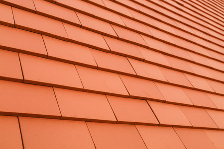 Closeup of traditional rosemary red plain clay roof tiles