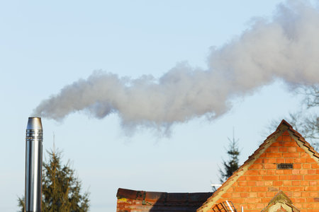 Domestic biomass chimney emitting smoke and pollutants into the environment Stockfoto
