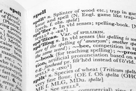 Detail of dictionary entries for spelling, speller, spelt and spell