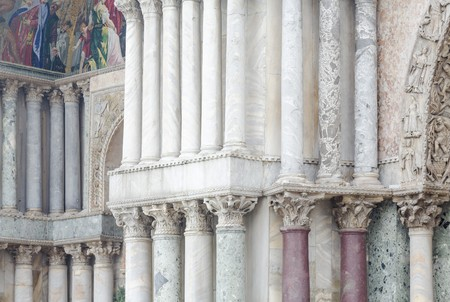 Architectural details, rows of columns on the outside of Saint Marks Basilica, Venice, Italy Editorial