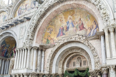 Last Judgement mosaic outside the entrance to St Marks Basilica, Venice, Italy