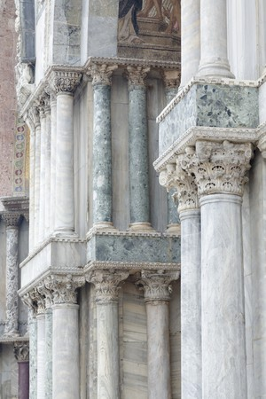 Columns outside St Marks Basilica in Venice, Italy