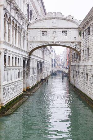 VENICE, ITALY - December 23, 2012. Bridge of Sighs, an enclosed bridge over Rio di Palazzo. The bridge was built of white limestone in 1600.