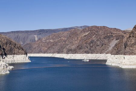 NEVADA, USA - May 21, 2012. Low water level during a period of drought at Lake Mead, Nevada and Arizona.