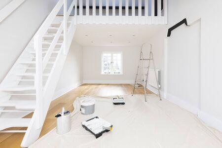 Miglioramento della casa e decorazione: una stanza o un appartamento è dipinto con emulsione