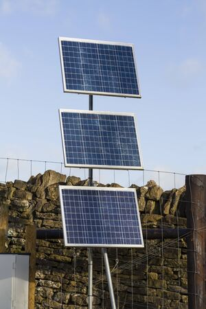 Small solar panels provide electricity to a remote rural location in Oxfordshire, UK Banco de Imagens