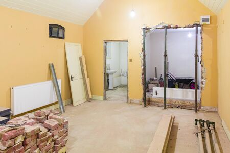 Building work and remodelling of a room interior while renovating a UK house Banque d'images
