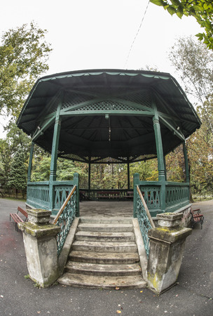 Pavilion in Central Park in Targu Jiu. Fsheye view