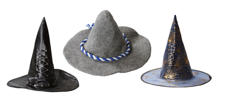 pointy hat: Set of witch hats isolated on white background