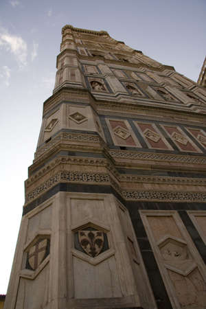 campanile: Looking up the Campanile in Florence towards the sky