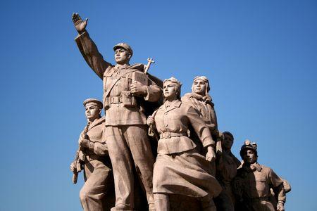 communists: Statue of the workers in Tiananmen Square, Beijing