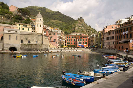 cinque terre: Boats in the fishing harbor in Vernazza in the Cinque Terre, Italy