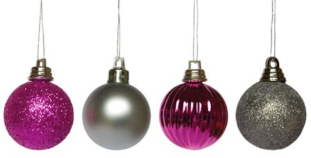 Four purple and silver hanging Christmas baubles Stock Photo - 2377421