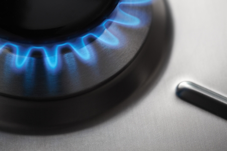 Stainless Steel Gas hob cooker Stock Photo