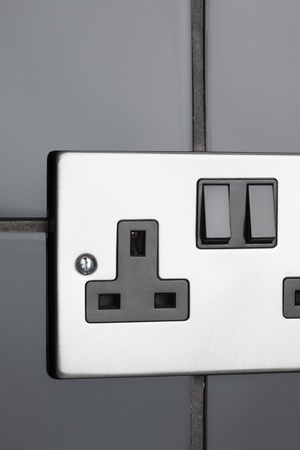 british people: Double plug socket in contemporary kitchen