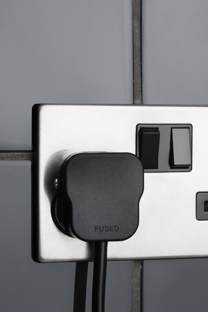 fused: Double plug socket in contemporary kitchen