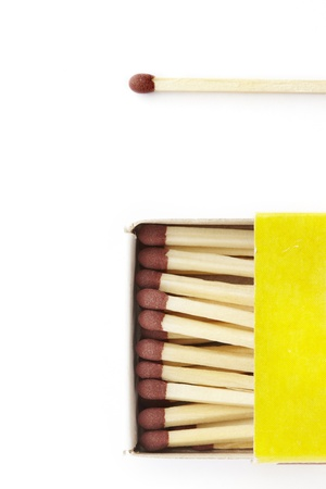 match box: Matches in a yellow match box on white background
