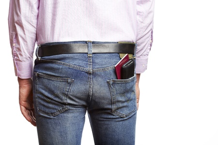 potentially: Man is about to potentially be pickpocketed for his wallet Stock Photo