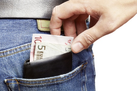 Man being pickpocketed for his wallet Stock Photo
