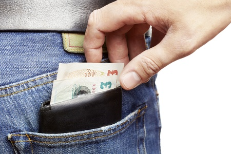 Man being pickpocketed for his wallet photo
