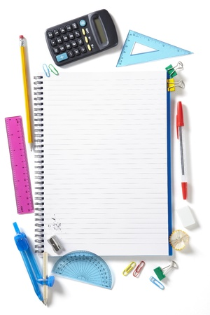 Back to School pupils note pad and stationary on white school desk from above Stock Photo - 14690602