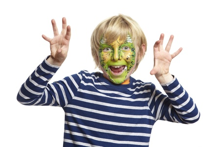 Young boy with face painting monster smiling on white background Stock Photo - 17362499