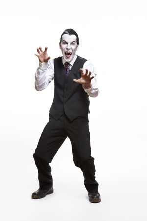 fancy dress costume: Man in dracula fancy dress costume on white background Stock Photo