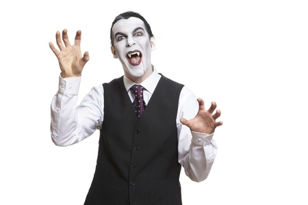 fearing: Man in dracula fancy dress costume on white background Stock Photo