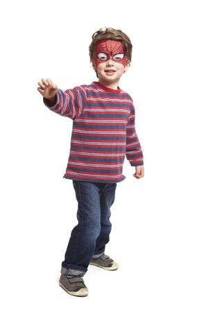 Young boy with face painting spiderman smiling on white background Stock Photo - 17531211