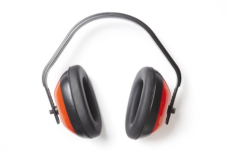 defenders: Protective red ear defenders on white background