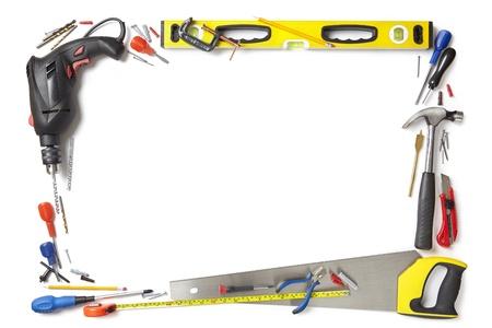 tradesmen: Builder handyman border white background