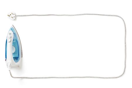domestic task: Steam iron and cable border on white background